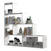 Habitdesign 002255BO - Estantería Decorativa, Acabado en Blanco Brillo, Medidas: 145 cm (Largo) x 145 cm (Alto) x 29 cm (Fondo)