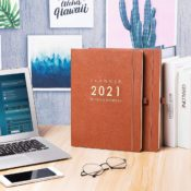 Eono by Amazon - Agenda 2021, Agenda A4 Week to View, 2021 Enero - Diciembre Planificador con funda de cuero marrón