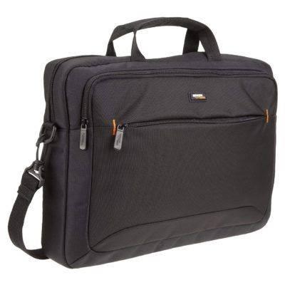 AmazonBasics - Maletín compacto para portátil con correa para el hombro y bolsillos para accesorios
